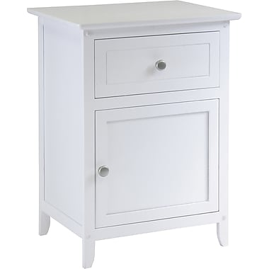 Winsome 25in. x 18.9in. x 14.96in. Composite Wood Night Stand Accent Table With Drawer, White