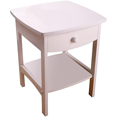 Winsome 22in. x 18in. x 18in. Wood Curved End Table/Night Stand With One Drawer, White