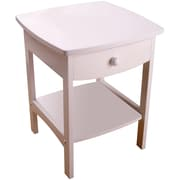 "Winsome 22"" x 18"" x 18"" Wood Curved End Table/Night Stand With One Drawer, White"