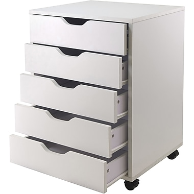 Winsome Composite Wood Halifax Cabinet With 5 Drawers, White