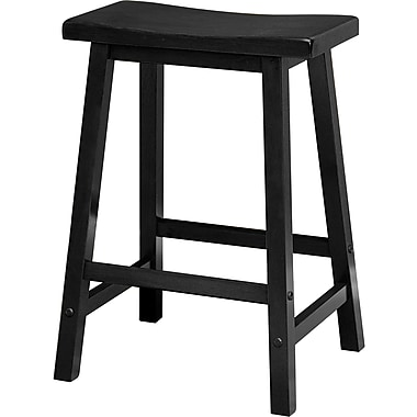 Winsome 24in. Wood Saddle Seat Stool, Black