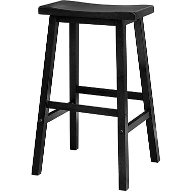 Winsome 29in. Wood Saddle Seat Stool, Black