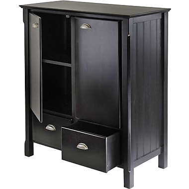 Winsome 40in. Solid/Composite Wood Timber Cabinet with 2 Drawers, Black