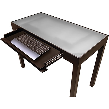 Winsome Solid Wood Darrel Computer Desk With Glass Top, Black