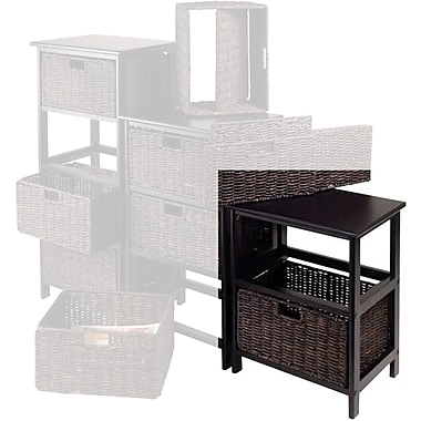 Winsome Omaha Composite Wood Storage Rack With 2 Foldable Corn Husk Baskets, Black
