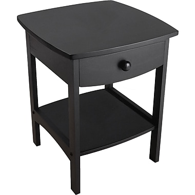 Winsome 22in. x 18in. x 18in. Wood Curved End Table/Night Stand With One Drawer, Black