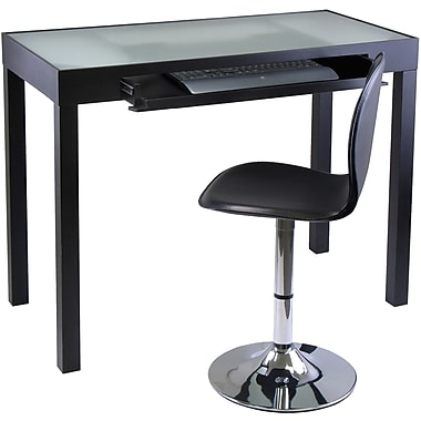 Winsome Wood/Glass/Metal Darrel Computer Desk and Swivel Chair Set, Black, 2/Set