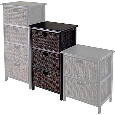 Winsome Omaha Composite Wood Storage Rack With 3 Foldable Corn Husk Baskets, Black