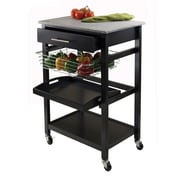 Winsome Julia Granite Utility Cart With 1-Drawer, Black