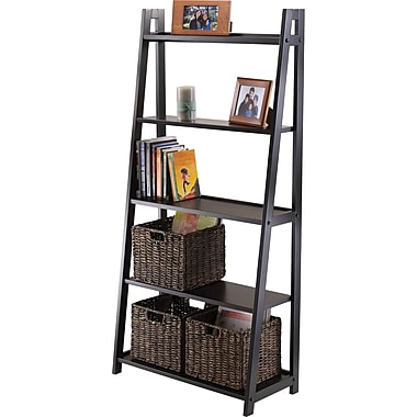 Winsome Solid/Composite Wood 5-Tier A-Frame Shelf, Black