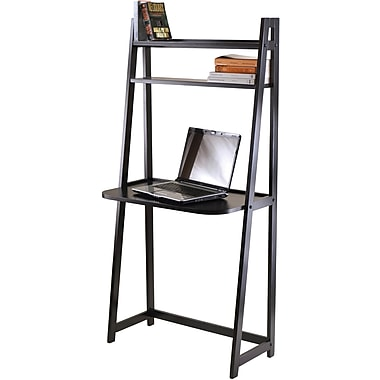 Winsome Wood A Frame Desk With 2 Shelves, Black