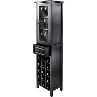 Winsome Burgundy 66.85in. x 18.11in. x 12.99in. Wood 15-Bottle Wine Cabinet, Black