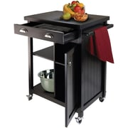 Winsome Timber Wood Kitchen Cart With Wainscot Panel, 1-Drawer, Black