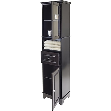 Winsome 70.87in. Solid/Composite Wood Alps Tall Cabinet With Glass Door and 4 Drawer, Black