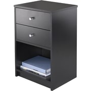 "Winsome Ava 23.74"" x 15.75"" x 12.68"" Composite Wood Accent Table With 2 Drawers, Black"