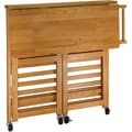 Winsome Wood Foldable Kitchen Cart With Shelves, Light Oak