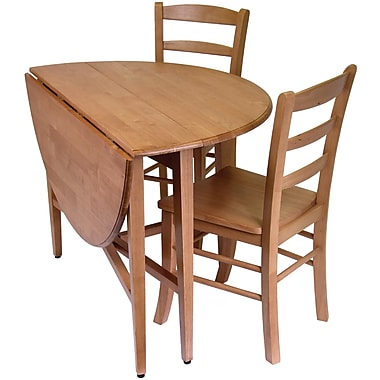 Winsome Hannah 29.5in. x 42in. x 42in. Wood Round Drop Leaf Table With 2 Ladder Back Chairs, Light Oak
