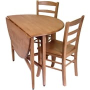 "Winsome Hannah 29.5"" x 42"" x 42"" Wood Round Drop Leaf Table With 2 Ladder Back Chairs, Light Oak"