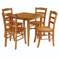 Winsome Groveland 29.13in. x 29.53in. x 29.53in. Wood Square Dining Table With 4 Chair, Light Oak