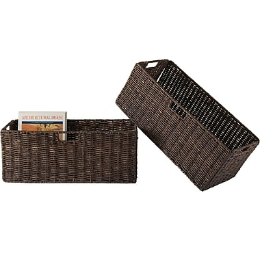 Winsome Granville Corn Husk Large Foldable Basket, Chocolate, 2/Pack