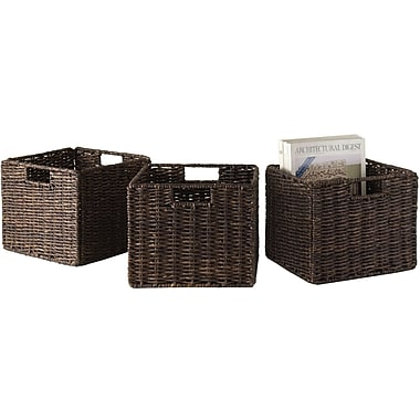 Winsome Granville Corn Husk Small Foldable Basket, Chocolate, 3/Pack