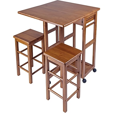 Winsome 32.76in. x 29.61in. x 29.13in. Wood Rectangular Kitchen Bar Cart With 2 Stool, Teak