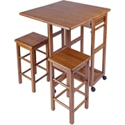 "Winsome 32.76"" x 29.61"" x 29.13"" Wood Rectangular Kitchen Bar Cart With 2 Stool, Teak"