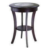 """Winsome Cassie 27"""" x 20"""" x 20"""" Composite Wood Round Accent Table With Glass, Cappuccino"""