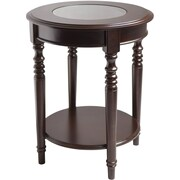 Winsome Whitman 25 x 20 x 20 Composite Wood Round Glass Top End Table, Cappuccino