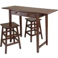 Winsome Mercer 33.86in. x 49.76in. x 18.48in. Wood Double Drop Leaf Table With 2 Stool, Cappuccino