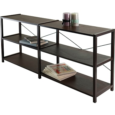 Winsome Sheldon Composite/Metal 2X 3-Tier Crossed Wire Shelf, Cappuccino