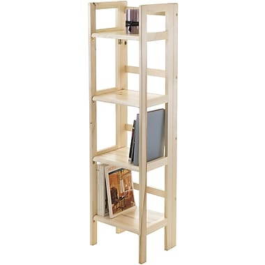 Winsome Solid Beech Wood Narrow 4-Tier Foldable Shelf, Natural