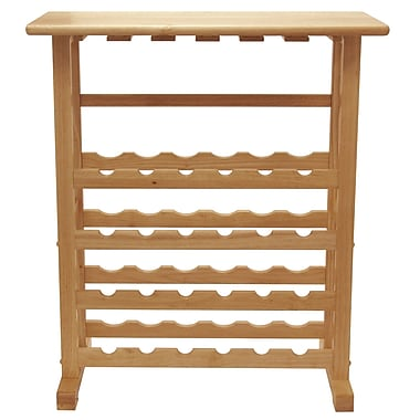 Winsome 35.67in. x 31 1/2in. x 16.22in. Wood 24-Bottle Wine Rack With Glass Rack, Beech