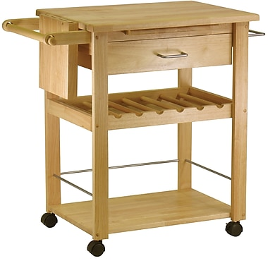 Winsome Deluxe Wood Kitchen Cart With 1-Drawer, Wine Storage, Beech