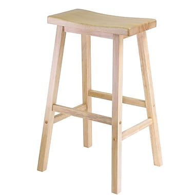 Winsome 29in. Wood Saddle Seat Stool, Beech