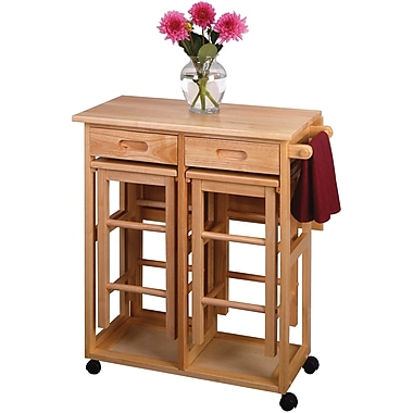 Winsome 32 3/4in. x 29.61in. x 29.13in. Wood Rectangular Space Saver Drop Leaf Table With 2 Stool, Beech