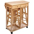 Winsome 32.79in. x 29.7in. x 29.29in. Wood Basics Round Space Saver Drop Leaf Table With 2 Stool, Beech