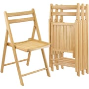 Winsome Wood Armless Folding Chair Set, Beech, 4/Set