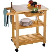 Winsome Wood Kitchen Cart With Cutting Board, Knife Block and Shelves, Beech