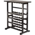 Winsome Vinny 35.67in. x 31 1/2in. x 16.22in. Wood 24-Bottle Wine Rack With Glass Hanger, Dark Espresso