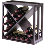 "Winsome Kingston 20.47"" x 20.47"" x 9.92"" 24-Bottle Stackable Modular ""X"" Cube, Dark Espresso"