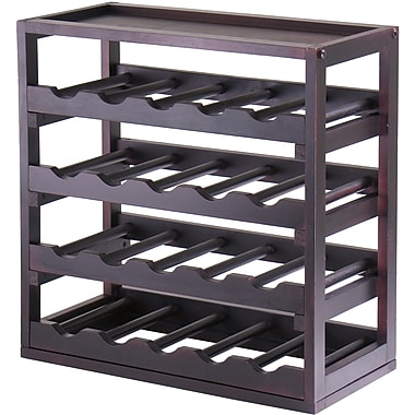 Winsome Kingston 20.47in. x 20.47in. x 9.92in. 20-Bottle Stackable Removable Tray Wine Cube, Dark Espresso