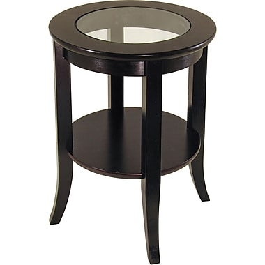 Winsome Genoa 22.56in. x 18.47in. x 18.47in. Composite Wood End Table With Glass inset, Dark Espresso