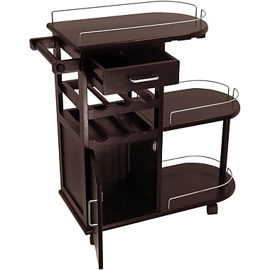 Winsome 35.9in. x 35.4in. x 15.39in. Entertainment Cart With Glass Rack, Cabinet, Drawer, Dark Espresso