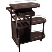 "Winsome 35.9"" x 35.4"" x 15.39"" Entertainment Cart With Glass Rack, Cabinet, Drawer, Dark Espresso"