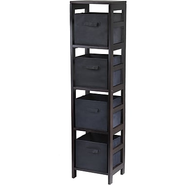 Winsome Capri Wood 4-Section N Storage Shelf With 4 Foldable Fabric Baskets, Espresso/Black