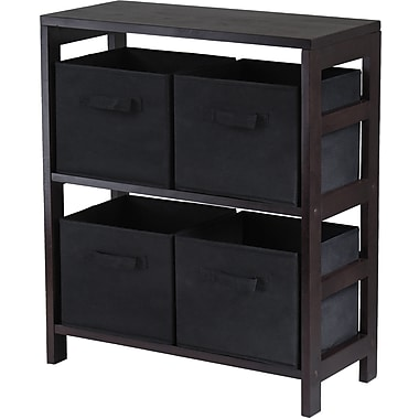 Winsome Capri Wood 2-Section M Storage Shelf With 4 Foldable Fabric Baskets, Espresso/Black
