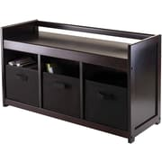 Winsome Addison Solid/Composite Wood 4-Pc Storage Bench With 3 Foldable Fabric Baskets, Black