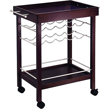 Winsome 33 1/4in. x 30in. x 18 1/2in. Mirror Top Bar Cart With Wine Rack, Dark Espresso