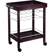 "Winsome 33 1/4"" x 30"" x 18 1/2"" Mirror Top Bar Cart With Wine Rack, Dark Espresso"
